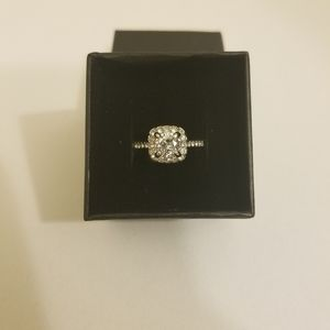Sterling Silver Studded Engagement Ring